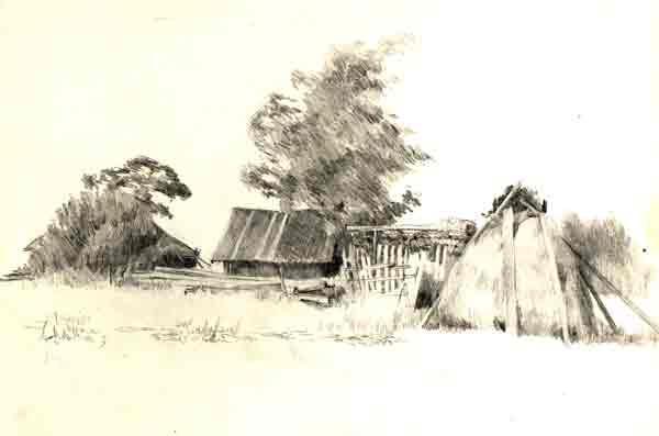 картинки карандашом деревни